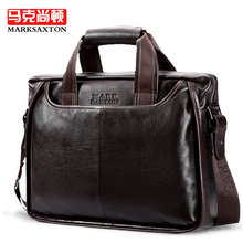 100% Cowhide men's business briefcase / Genuine leather man vintage cross-body one shoulder bag handbag / Luxury leather bags