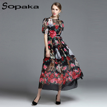 SOPAKA High Quality Thin Material Dog Floral Printed Rose Flower Embroidery Short Sleeve 2017 Summer Runway Designer Women Dress(China)
