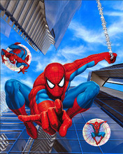 8x8FT Spiderman Spider Man Spidey Comics Blue Sky Skyscraper Kids Custom Photography Studio Backgrounds Backdrops Vinyl 10x10(China)