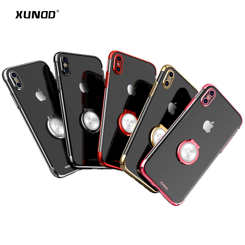Luxury Clear Ring Holder Case For iphone X 10 Xundd Hard PC back Cover For iphone X case capa work with Magnetic car holder 1