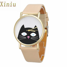 2017 Relojes Cartton Cat Glasses Watch Women's PU Leather Analog Quartz Wrist Watch Women Mens Sports Clocks Watches Relogio