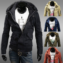 Black blue green solid stylish design double collar Mens coat men's jackets jaquetas masculinas man military jacket hoodies - Grand Prairie store