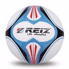 REIZ Premium Leather Football Official Size 4 Soccer Ball Matching Color Decorative Pattern Ball With Free Net Needle Free Ship(China)