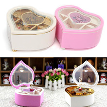 Mayitr Heart Shaped Music Boxes Jewellery Music Box Ballerina Dancer Christmas Gift DIY Decoration Random Color(China)