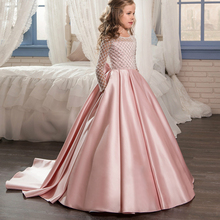 Christmas Fancy Flower Girl Dress Floor Length Button Draped Pink Long Sleeves Tulle Ball Gowns for Kids Glitz 0-12 Old 2017 New(China)