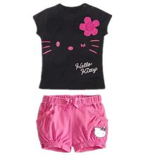 Retail 2017 children girls clothing set Summer hello kitty cute pajamas costume baby kids child cartoon clothes sets suits