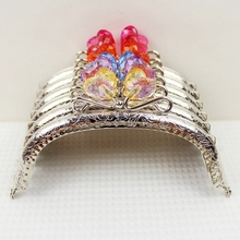 12.5cm Sliver Heart Flower Head Candy Bead Purse Frame Handle for Bag Sewing Craft Tailor Sewer 10pcs/lot wholesale(China)
