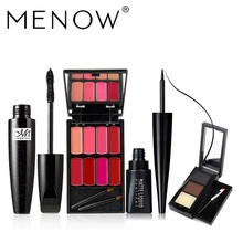 MENOW Brand Make up set 8 colors Lip Gloss Palette &Black Waterproof Mascara & Quick Dry Liquid Eyeliner& Eyebrow(China)