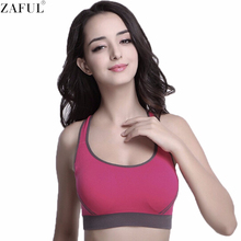 ZAFUL Hot Sale Women Multicolors Padded Top Active U-Neck Color Block Criss-Cross Gym Wear Crop Top Fitness Sport Bra for Women(China)