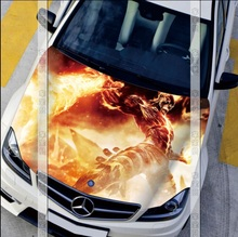 Fire Monster Car Engine Hood Sticker Head Cool LOL Game Styling Decal Decor Carbon Vinyl Cover Waterproof