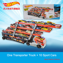Hot Wheels 6 Layer Scalable Heavy Transport Vehicles CKC09 With 10 Piece Small Car Educational Toy Boy Birthday Christmas Gift(China)