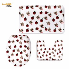 HUGSIDEA Animal Cat Puzzle Printing Toilet Seat Cover 3-Pieces Flannel Toilet Lid Cover Non-Slip Bathroom Rug Toilet Accessories(China)
