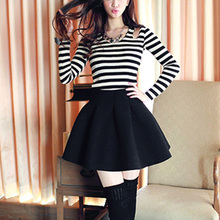 2016 Women Clothing Fashion Brand Stylish Skirt New Design Cute Novelty Casual Black High Waist Ruffle Skirt Wine Red/Black