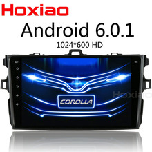 2 din Android 6.0 car dvd player for Toyota Corolla 2007 2008 2009 2010 2011 Quad Core 9 inch 1024*600 screen car stereo radio(China)
