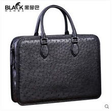 heimanba Ostrich leather handbag male bag large capacity business travel briefcase luxury real leather(China)