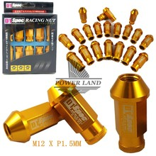 Universal Fit Hight Quality Billet Aluminum Car Styling 20pcs D1 Spec JDM Racing Wheel Lug Nuts M12X1.5 for Ford Toyota Gold