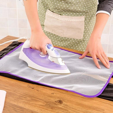 Sale 1PC Randdom Colour Trendy Heat Resistant Protective Cloth Insulation Ironing Cloth Mat Board Ironing Supplies(China)
