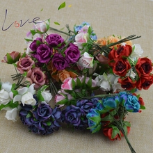 6 Pieces / Mini Rose Bouquet Artificial Flower DIY Bride Garland Headwear Material Wedding Decoration Clothing Hat Accessories