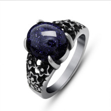Mosaic Blue Sand Stone Pomegranate Red Titanium Stainless Steel Court Vintage Jewelry Men Ring Couple Rings(China)
