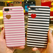 LOVECOM Black White Pink Stripe Love Case Coque For iPhone 6 6S 7 Plus Heart Camera Window Soft TPU Phone Cases Back Cover Bags