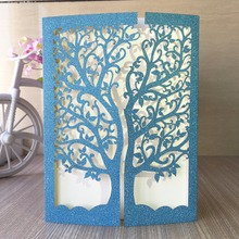 50pcs glitter blue gold ,silver paper wedding party decoration paper craft laser cut tree wedding invitation card greeting card