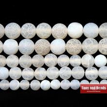 Free Shipping Natural Stone Frost Crab White Agates Round Loose Beads 4 6 8 10 12MM Pick Size For Jewelry Making
