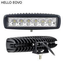 HELLO EOVO 2pcs 6 Inch 18W LED Work Light for Indicators Motorcycle Driving Offroad Boat Car Tractor Truck 4x4 SUV ATV 12V(China)