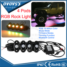 "2016 OVOVS Newest design 4 pods kits 2"" 9w RGB led rock lights with Bluetooth Control for 4x4 trucks SUV ATV"