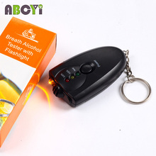 100pcs Cheap Key Chain Alcohol Tester Wholesale Mini 3 LED Alcohol Car Detector The Breathalyzer Keychain with Torch & Color Box