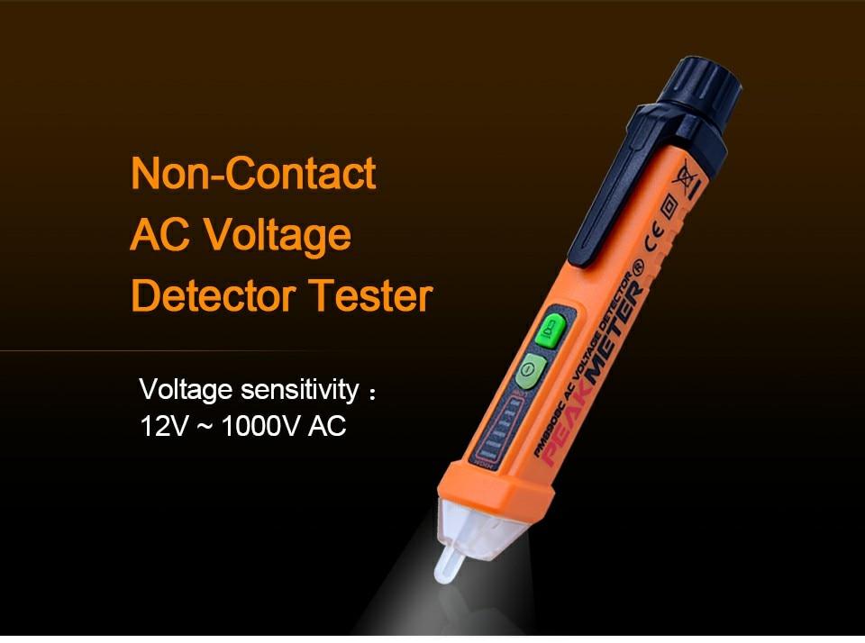 Tree-on-Life Probador de Voltaje CA Pluma sin Contacto Volt Detector Stick Rango Ajustable Luz de Sonido Alerta 12V ~ 1000V con Linterna