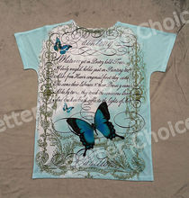 Track Ship+Vintage Retro Cool Rock&Roll Punk T-shirt Top Tee Blue Elegant Romantic Butterfly Love Letter 0264(Hong Kong)