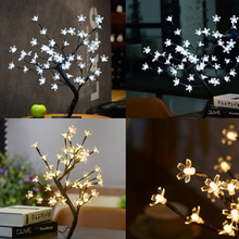 MUQGEW 0.45M 48LED Cherry Blossom Desk Top Bonsai Tree Light Fairy Lights Part Christmas Room Deco Hot Sell Drop Shipping Price(China)