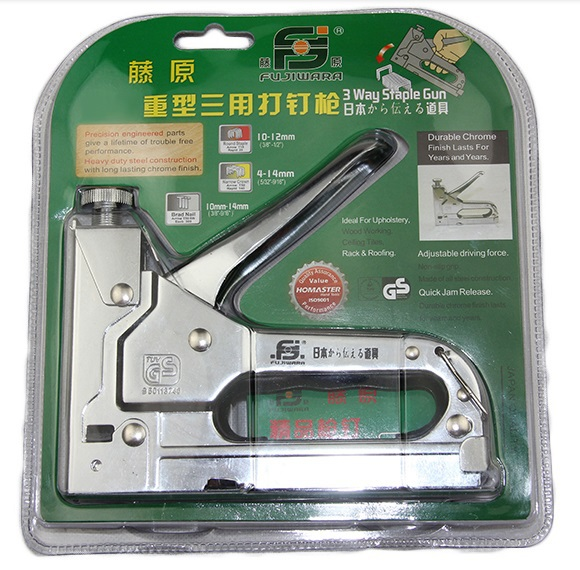 Nail staple Gun &amp; Stapler for wood furniture, door &amp; upholstery chrome finish with 800 nails<br><br>Aliexpress