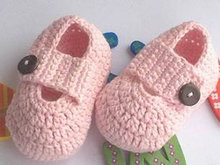 Pink Crochet Booties, Crochet BabySandals, Newborn Crochet Shoes