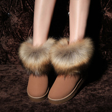 2017 High Quality -made Rabbit Hair Women Snow Boots Winter Boots Cotton Warm Shoes Women's Boots  size35-40  comfortable