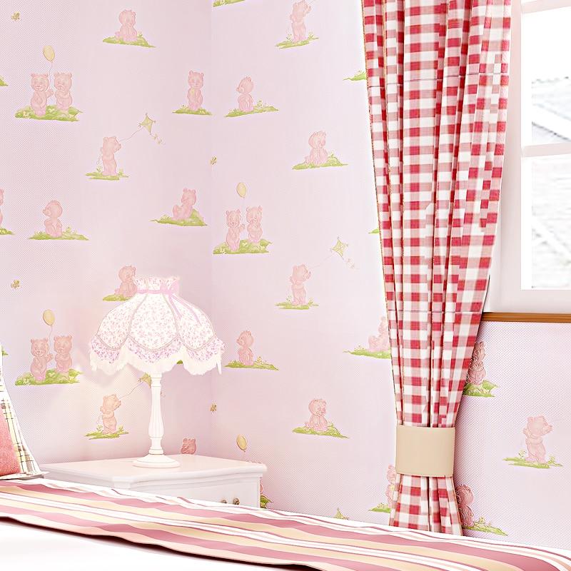 Cute Bear Wallpaper for Kids Room Child Boy Wallpaper Blue Beige Pink Green Wall Paper Cartoon For Girls Room Children Bedroom<br>
