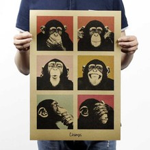 Vintage poster Gorilla bar counter adornment kitchen retro kraft paper posters,Movie poster Wall stickers 51*35CM(China)