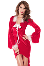 2016 Winter Party Club Red Christmas Costumes Sexy Drag Back Mistress Long Dress For Women New Year Clothes LC7210