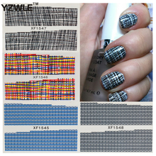 YZWLE Fashion Grid Design DIY Decals Nails Art Water Transfer Printing Stickers Tools Accessories For Manicure Salon