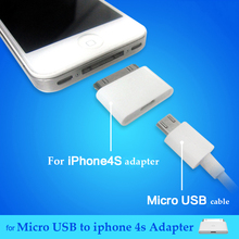 30 Pin to Micro usb Dock Charger Adapter Converter For iPhone 4 4s 3GS for ipad 3 2 ipod touch 4 Android Charging USB Cable Cord(China)
