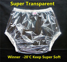 Free shipping FUUBUU2201-transparent-XXL-2PCS adult diapers non disposable diaper pvc incontinence shorts plastic pants clear(China)
