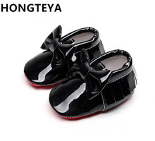 HONGTEYA tassel Patent leather Red bottom soft sole Baby Moccasins baby boys girls Shoes bow-tie Infant toddler first walkers(China)