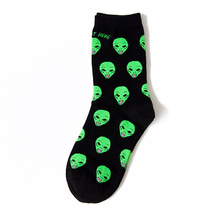 New Cotton Casual Socks for Women Men Cat Alien Socks Hip hop Harajuku Skateboard Socks Funny Socks 36-42 Sox(China)