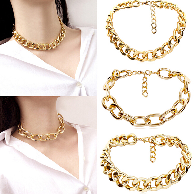 Women Girls Retro Punk Metal Link Chain Necklace Exaggerated Punk Geometric Choker Collar Club Party Necklace Gifts