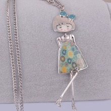 Antique Silver Jewelry Doll Necklace Long Chain Pendant Enamel Girl Necklace