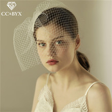 CC Bridal Yarn Wedding Veil Short For Women Hair Accessories Hairwear Hollow Design Engagement Party Fine Jewelry Wholesale V603(China)