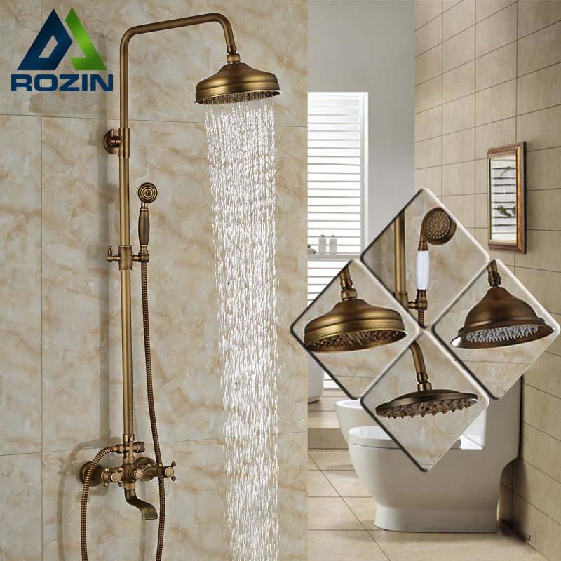 Modern 6-model Bathroom Surface Mount Brass Rainfall Shower Faucet Set Antique Brass with Handshower + Tub Spout<br><br>Aliexpress