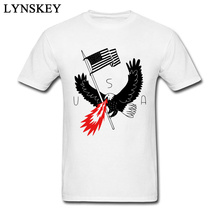 Fire Breathing Bald Eagle Of Patriotism USA Cartoon T-shirt For Men Animal Print Crew Neck Pure Cotton Top Tee Funny(China)