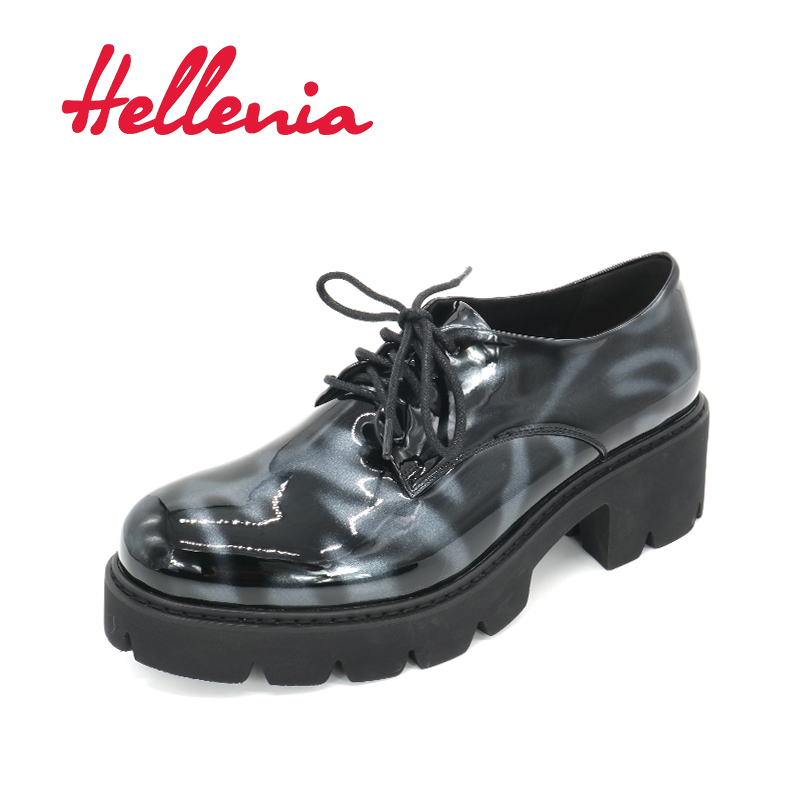 Hellenia Quality Comfortable Handmade Ladies Shoes Office Career Soft Black Woman Platform Heels Rounded Toe size 35-40 2018(China)
