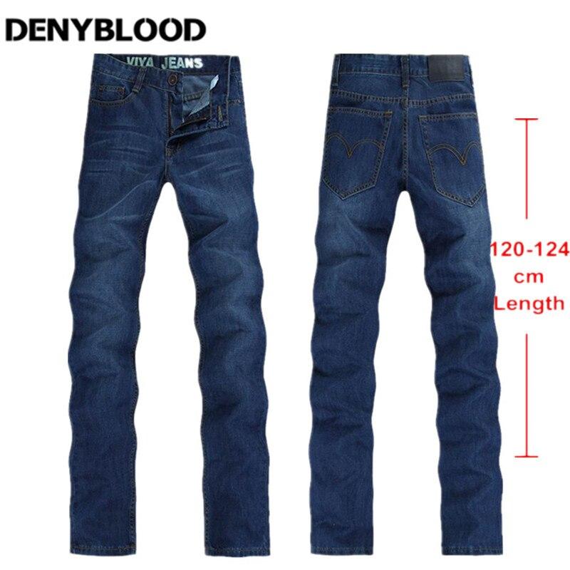 123cm Extra long Jeans Men Plus Size 28-40 42 44 Autum Winter 2016 Mens Cotton Denim Slim Straight Classic Stonewashed Jeans 037Îäåæäà è àêñåññóàðû<br><br>